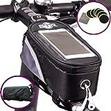 Sacoche de cadre pour vélo avec emplacement pour smartphone résistante à l'eau BTR ** Comprend maintenant Rustines BTR pour vélo/bicyclette, Rustines autocollantes (lot de 6) **