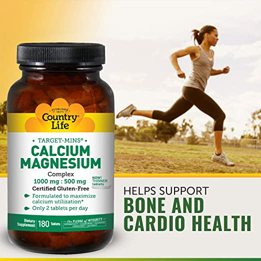 Amazon.com: Country Life Target Mins - Calcium Magnesium Complex, 1000 mg/500  mg per 2 Tablets - 180 Tablets: Health & Personal Care