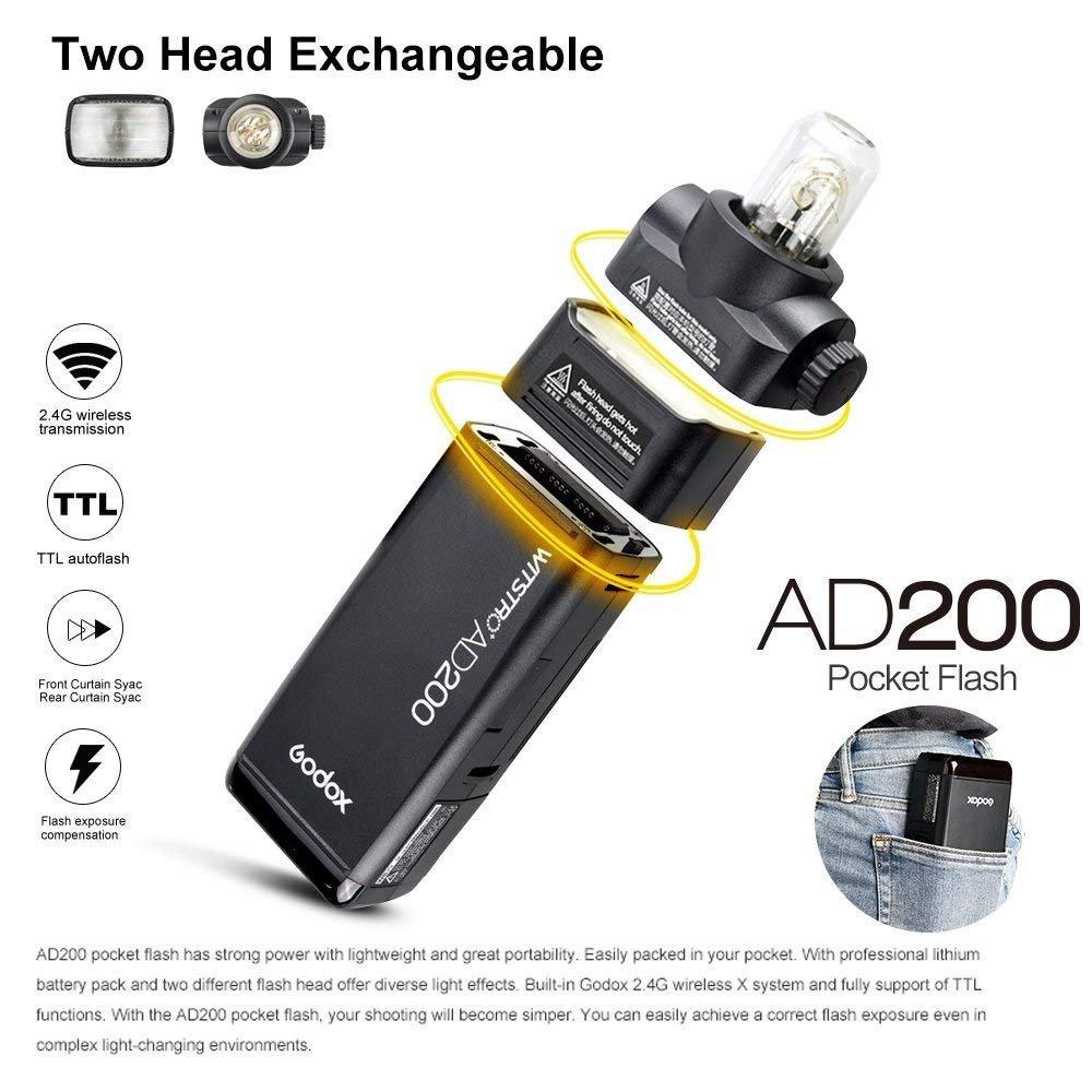 Godox AD200 TTL 2.4G HSS 1/8000s Pocket Flash Light Double Head 200Ws with 2900mAh Lithium Battery by Godox (Image #5)