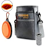 Hero Dog Treat Training Pouch Bag(Small Large Pets) - Dual Compartments Carry Toy Kibble,Treats - with Poop Bag,Collapsible Bowl - Build-in Waste Bag Dispenser Grey