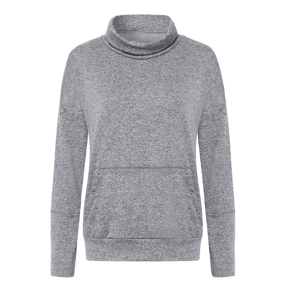 Londony /♥‿/♥ Clearance Sales,Womens Turtleneck Long Sleeve Sweatshirt Loose T-Shirt Blouses Tops with Pockets