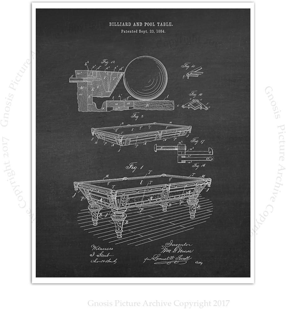 Gnosis - Juego de 4 Figuras de Billar para decoración de Habitaciones de Billar, diseño de Patentes: Amazon.es: Hogar