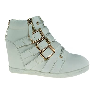 37cd3c87ed1c1 High Top Concealed Hidden Wedge Sneaker w Gold Metal Hardware & Rubber Sole