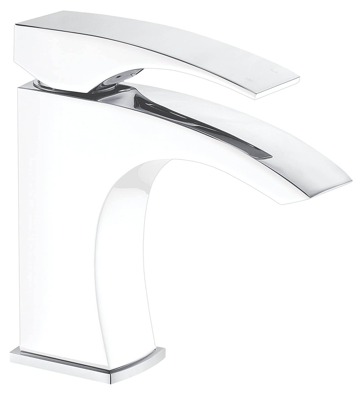 Dawn Ab77 1586 Cpw Single Lever Lavatory Faucet, Chrome And White (Standard Pull Up Drain With Lift Rod D90 0010 C Included) by Dawn