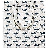 Caixia Women's Cotton Cartoon Whale Print Canvas Tote Shopping Bag