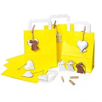 e543e6068 6 amarillas pequeñas bolsas de Pascua 18 x 22 x 8 cm + 6 metal blanco