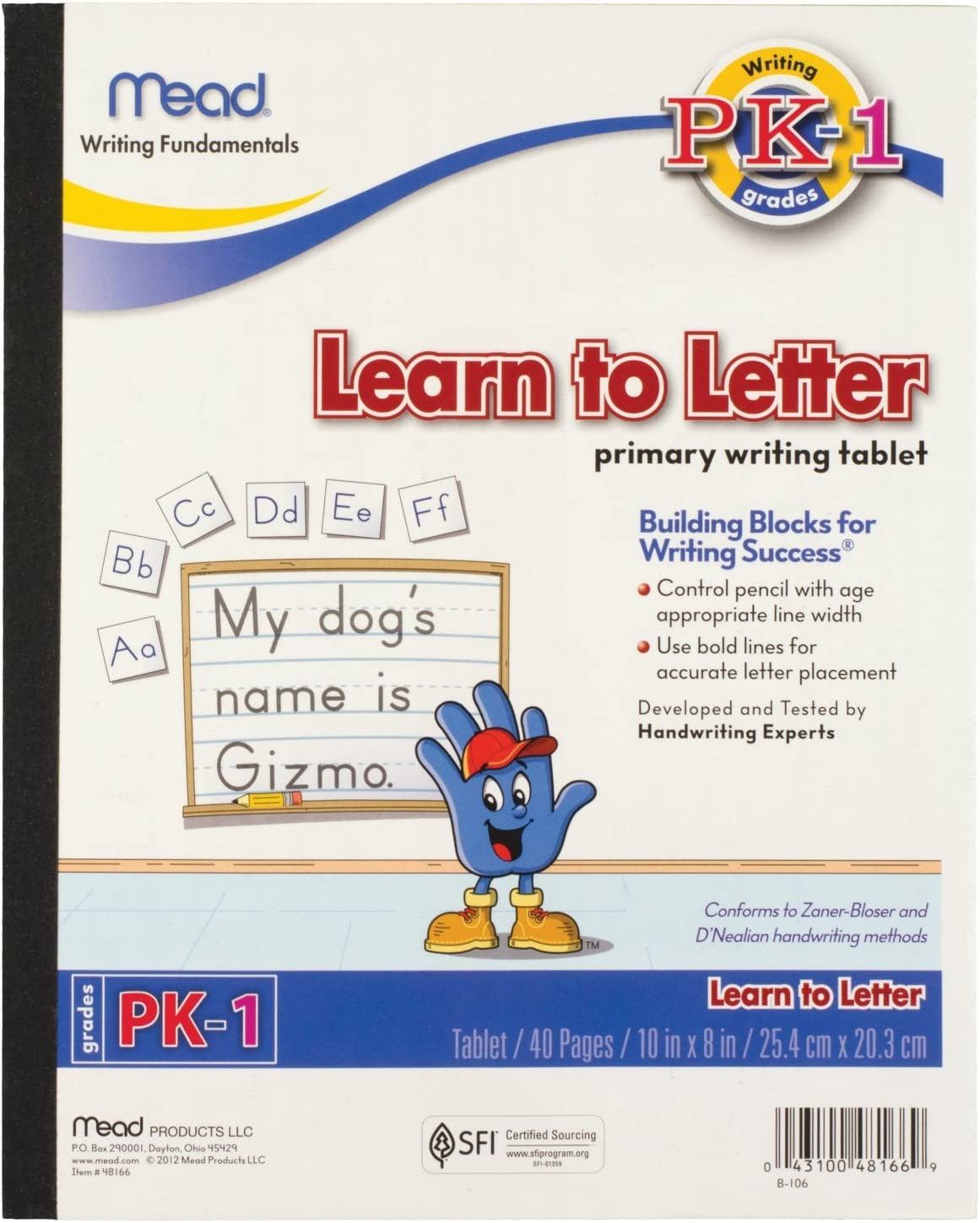 8 x 10 Mead Learn To Letter Tablet Pre-K 1st Grade Workbook 48166 Practice Writing Handwriting