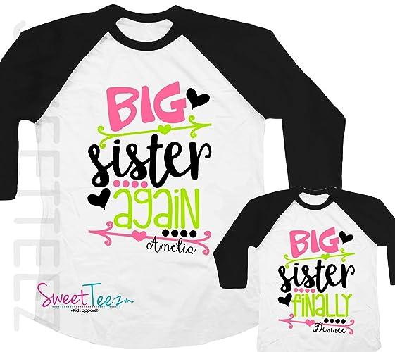 b0d5874a2 Amazon.com: Big Sister Again Big Sister Finally Shirt Set Sister Set Shirt  Black Raglan Matching Shirts Gift Pregnancy Announcement: Handmade