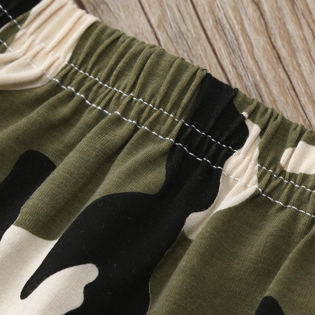 Camo Pants KaiCran Summer Little Boys Two-Piece Set Short-Sleeve Lettering Print T-Shirt