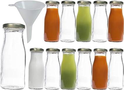 Viva Haushaltswaren 10 Mini Glass Bottles 100 ml with Swing Tops for Self-Filling incl Filling Funnel Diameter 5 CM