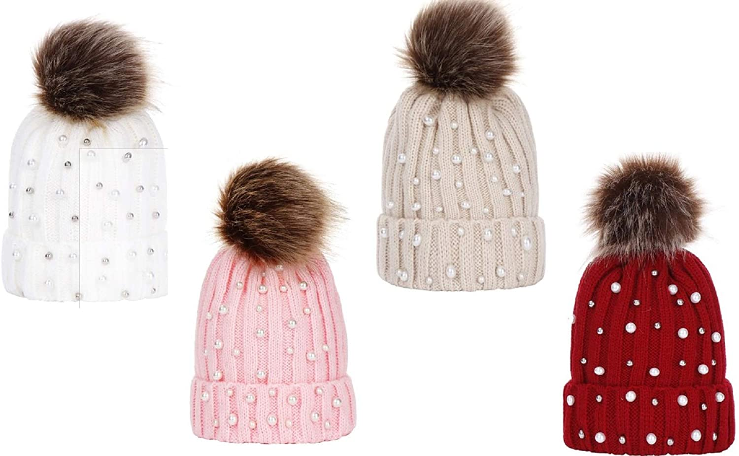 Tresbon Products Women Pearl Beanies Beanie Scully with Fur Pompom Pom Pom Winter Cold Hat