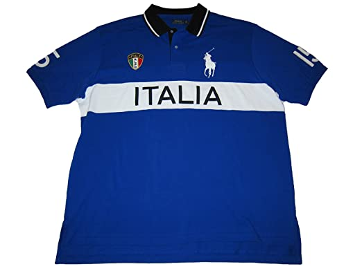 RALPH LAUREN Polo Mens Big and Tall Italia Racing Polo Shirt Blue (3XLT)