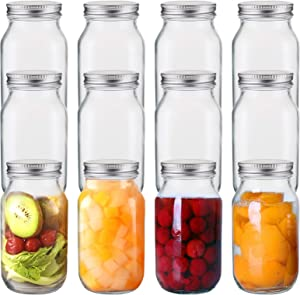 Jucoan 12 Pack 24 oz Glass Mason Jar Canning Jar with Silver Airtight Metal Lids, Regular Mouth Glass Jars for Preserving Fruits, Vegetables, Pickles, Tomato Juices and Sauces (Square Shape)