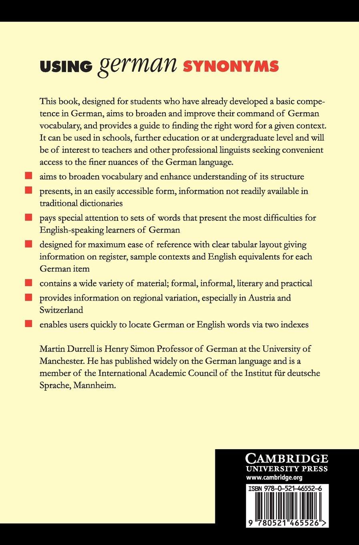 Using german synonyms amazon co uk martin durrell 9780521465526 books