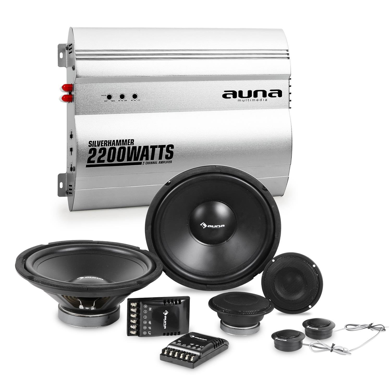 auna Silverhammer Set Audio HiFi para Coche (Altavoces, Terminal de 2 Canales, subwoofers, tweeters, 8000W Potencia Total, superbass) Electronic Star 4260528638758