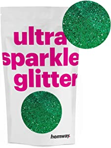 Hemway Emerald Green Premium Glitter Multi Purpose Dust Powder 100g / 3.5oz for use with Arts & Crafts Wine Glass Decoration Weddings Cards Flowers Cosmetic Face Eye Body Nails Skin Hair