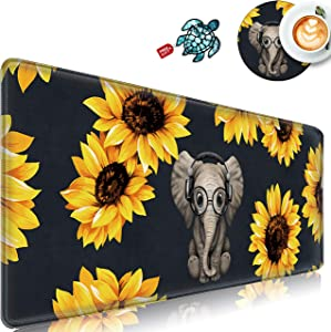 "Desk Pad Mat Gaming Mouse Pads with Stitched Edges Design Mousepad XL Large Mouse Pad for Laptop Computers Black Elephant Sunflower Desk Writing Mat for Office & Home 31.5""x 12"" Stickers & Coasters"