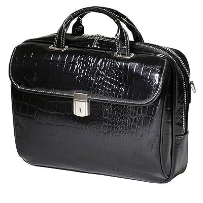 good DSOS Black Litigator Briefcase Leather Solid Luxurious Adjustable NonSlip