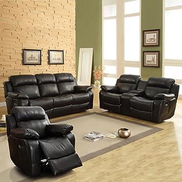 Amazon Com Weston Home Darrin Leather Reclining Sofa Set With