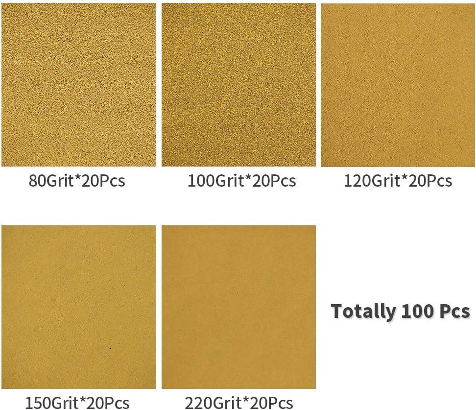 Speedwax Lot de 100 disques abrasifs de 12,7 cm 8 trous Assortiment de 20 disques chacun de 80 100 120 150 220 Grains assortis Papier abrasif Jaune