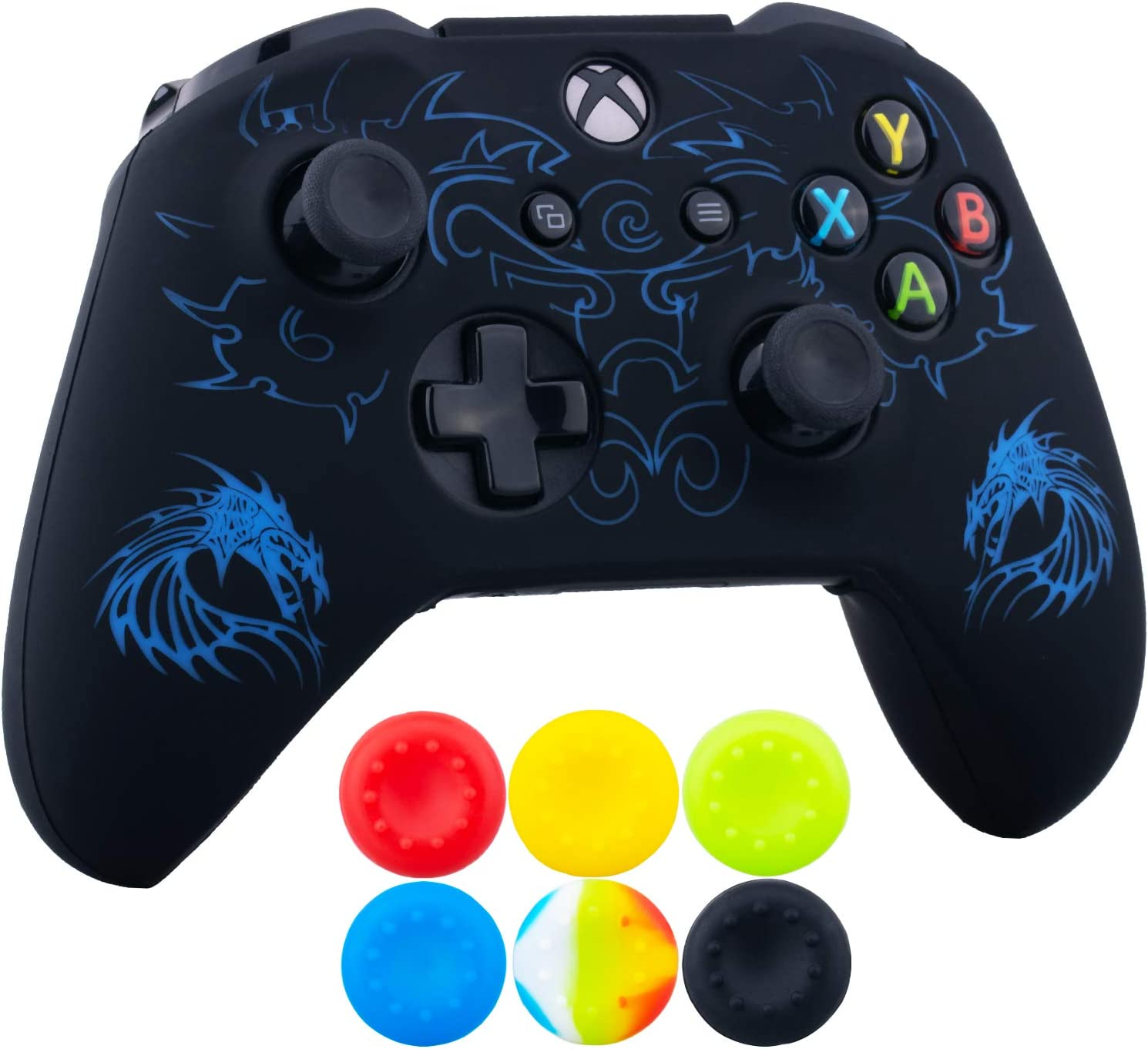 9CDeer 1 x Silicona Grabado Laser Protector Cubrir Piel + 6 Apretones de Pulgar y Tapones a Prueba de Polvo para Xbox One S/X Mando Continuar azul