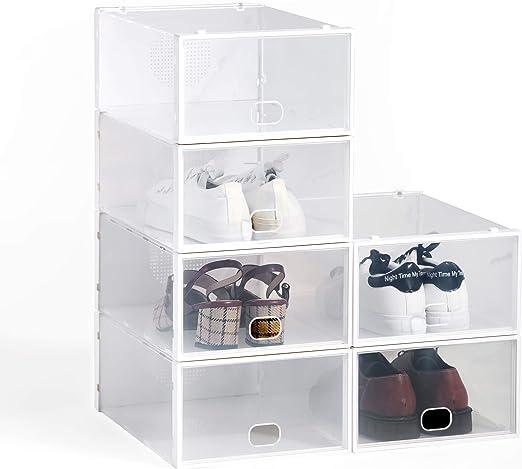 Hododou - Caja de zapatos apilable (6 unidades, 34 x 23 x 13 cm ...