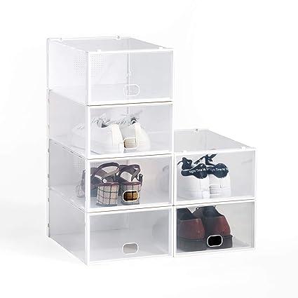 Clear Shoe Storage Boxes.Hododou Stackable Shoe Box Upgraded Version 6pcs Shoe Box Clear Shoe Storage Box Ladies Men Plastic Shoe Organiser Box 34x23x13cm