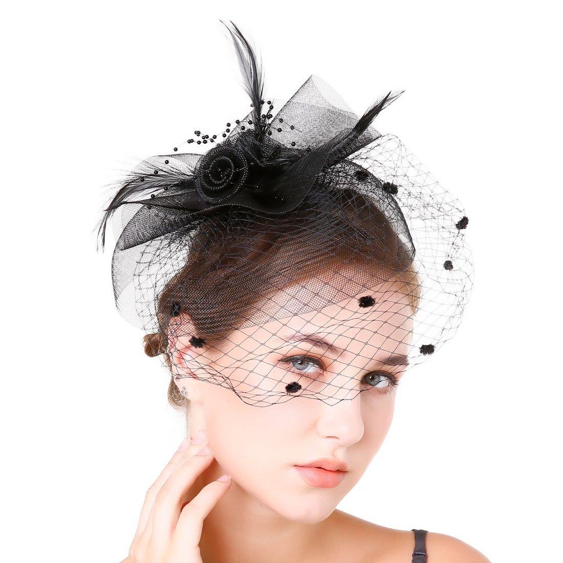 Fascinaor Hair Clip Feather Veil Wedding Party Hat (Balck)