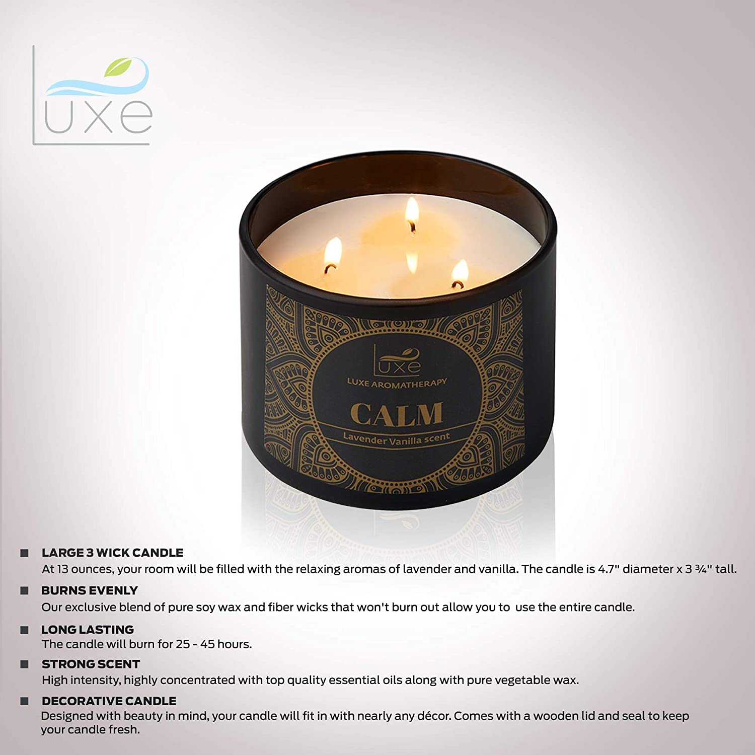 Aromatherapy Scented Soy Candle 3 Wick Stress Relief Candles