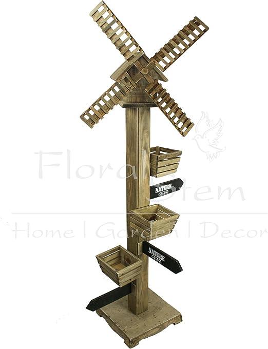 145 cm molino de viento de madera maceta con casa para pájaros – naturaleza, jardín decoración: Amazon.es: Jardín