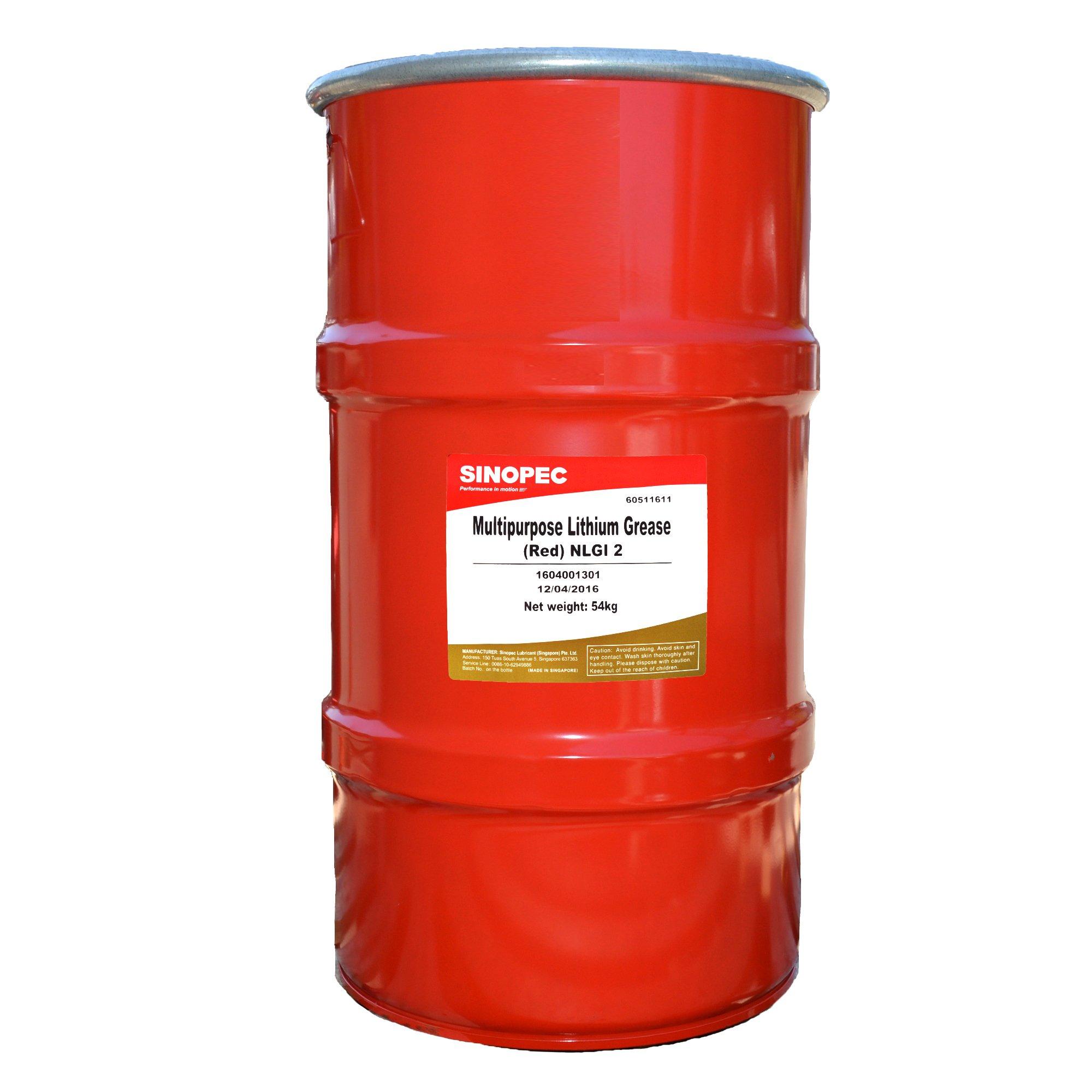 Sinopec Multipurpose Lithium Grease #2, 120 lb, 16 Gallon Keg, Red