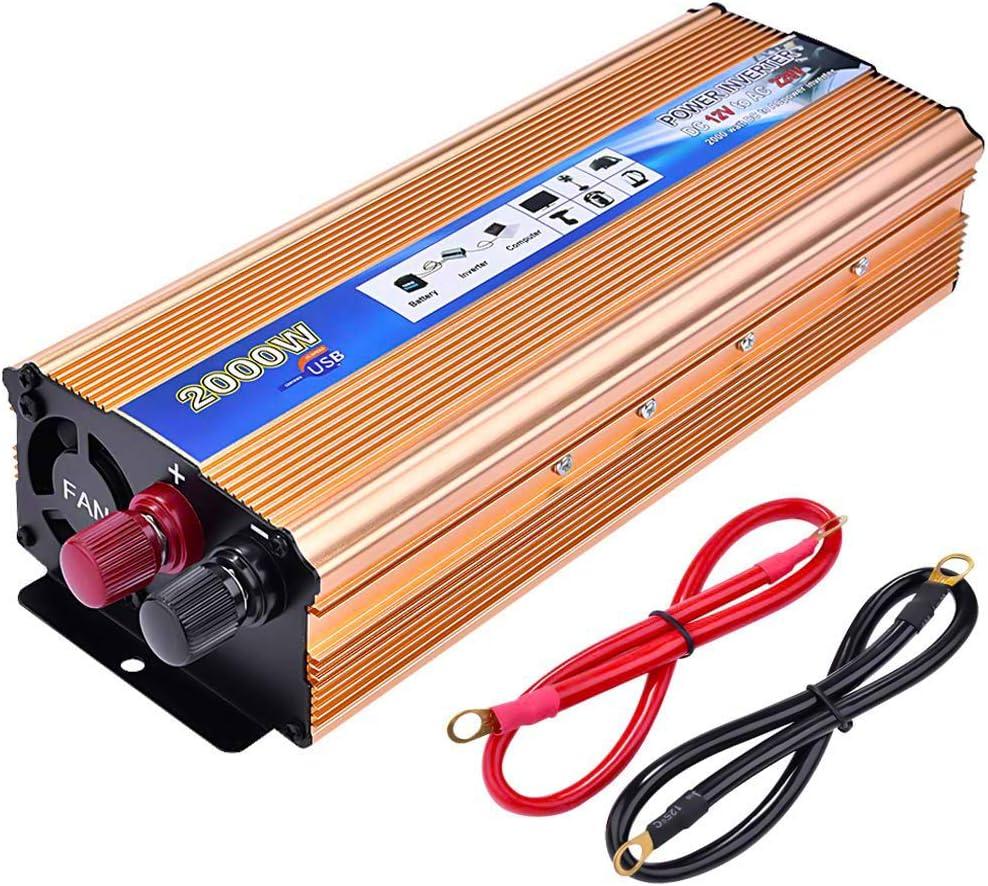 Inversor de Corriente1000 2000W,Lacyie Transformador 12V a 220V, Convertidor Onda Modificada para Coche, 2.1A Puerto USB,Pinza De Conexión A Batería