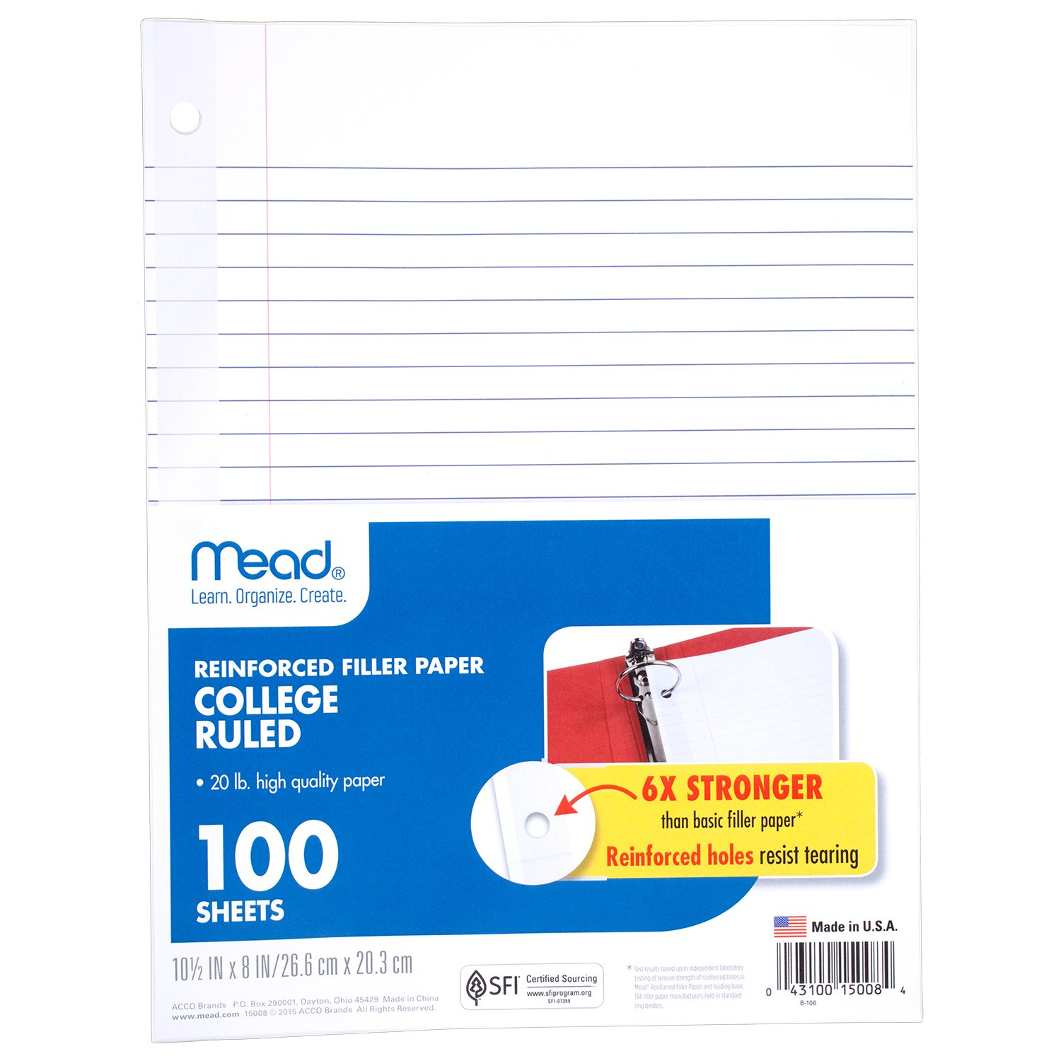 Mead Loose Leaf Paper, Filler Paper, Reinforced, College Ruled, 100 Sheets, 10-1/2'' x 8'', 3 Hole Punched, 3 Pack (38037) by Mead (Image #2)