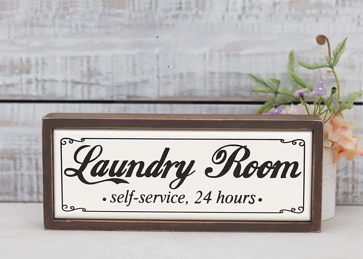 Small Laundry Room Self-Service 24 Hours Wood Block Sign, Farmhouse Rustic Wood Tabletop Decor for Laundry Room, Freestanding Laundry Room Decor, 9.75 x 1.5 x 4 Inches