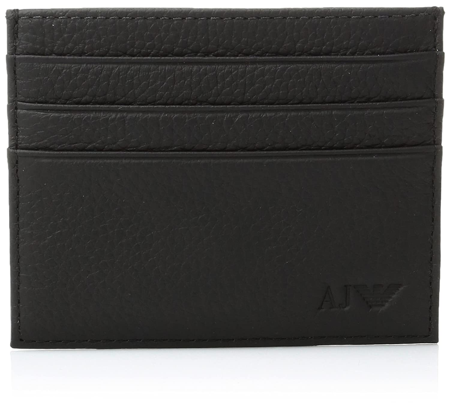 Armani Jeans Men\'s Genuine Leather Round Credit Card Holder, black ...