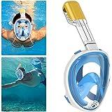 QcoQce Maschera da Snorkeling, Maschera Subacquea Full Face 180 ° Visualizza Design panoramico,Anti-Fogging Anti-Leak con cinghie regolabili per lo snorkeling più lungo per Donna Bambino adulto.