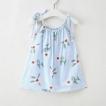 feiXIANG Vestido sin Mangas de niña con Rayas Vestido de Tiras de Flores recién Nacido bebé niño Falda de Playa Vestido de Princesa Informal: Amazon.es: ...