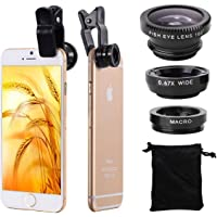 Webilla Lense 3 in 1 Cell Phone Camera Lens Kit -Fish Eye Lens, 2 in 1 Macro Lens & Wide Angle Lens Compatible for iOS Devices/Android/ (Multicolour)