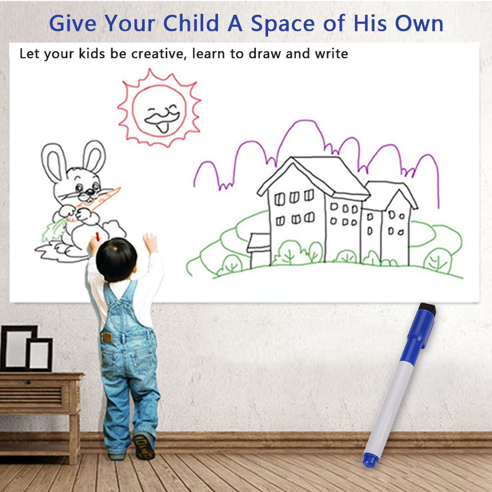 Whiteboard Sticker 17.5 by 118 inches Ninonly for School Office Home Self-Adhesive Dry Erase Wall Decal Wall Sticker Wall Paper for Kids Education & DIY Works Free 1 Water Pen (White) by Ninonly (Image #2)