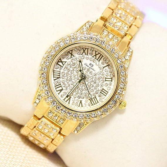 Elegantes Relojes Redondos para Mujeres con Diamantes de imitación, Banda de aleación, para Mujer