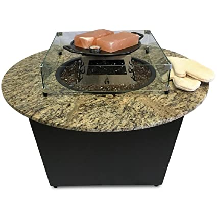 Firetainment Santiago Fire Pit Table With Santa Cecilia Granite Tabletop,  Copper Fire Glass, Universal