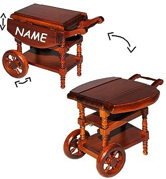 Attraktiv Servierwagen / Teewagen   Klappbar   Aus Holz   Incl. Name   Für  Puppenstube Miniatur