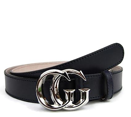 Gucci Homme Cuir argent Gg boucle ceinture 95 38 bleu foncé  Amazon ... 4040cd9e0d1