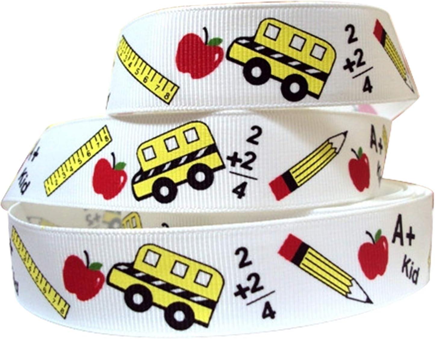Back to School Ribbon for Crafts - 10 Yard | School Themed Ribbon Decor | Decorations for Teacher Appreciation Gift | School Grosgrain Ribbon | ABC Ribbon for Back to School Decorations Supplies