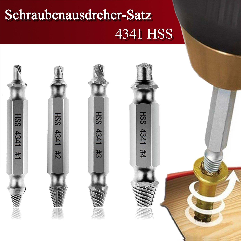 AUSERO Coffret de Extracteurs de vis Set de 4pcs casse endommagé es screw remover HSS 4341