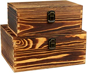 Wooden Keepsake Boxes Wood Stash Box for Jewelry Watch Trinkets Treasure Chest Hobby Cash Pill Gifts File Cards Photos Cash Storage Case Rustic Decorative Organizer With Latch Lids Fired Color 2 Set