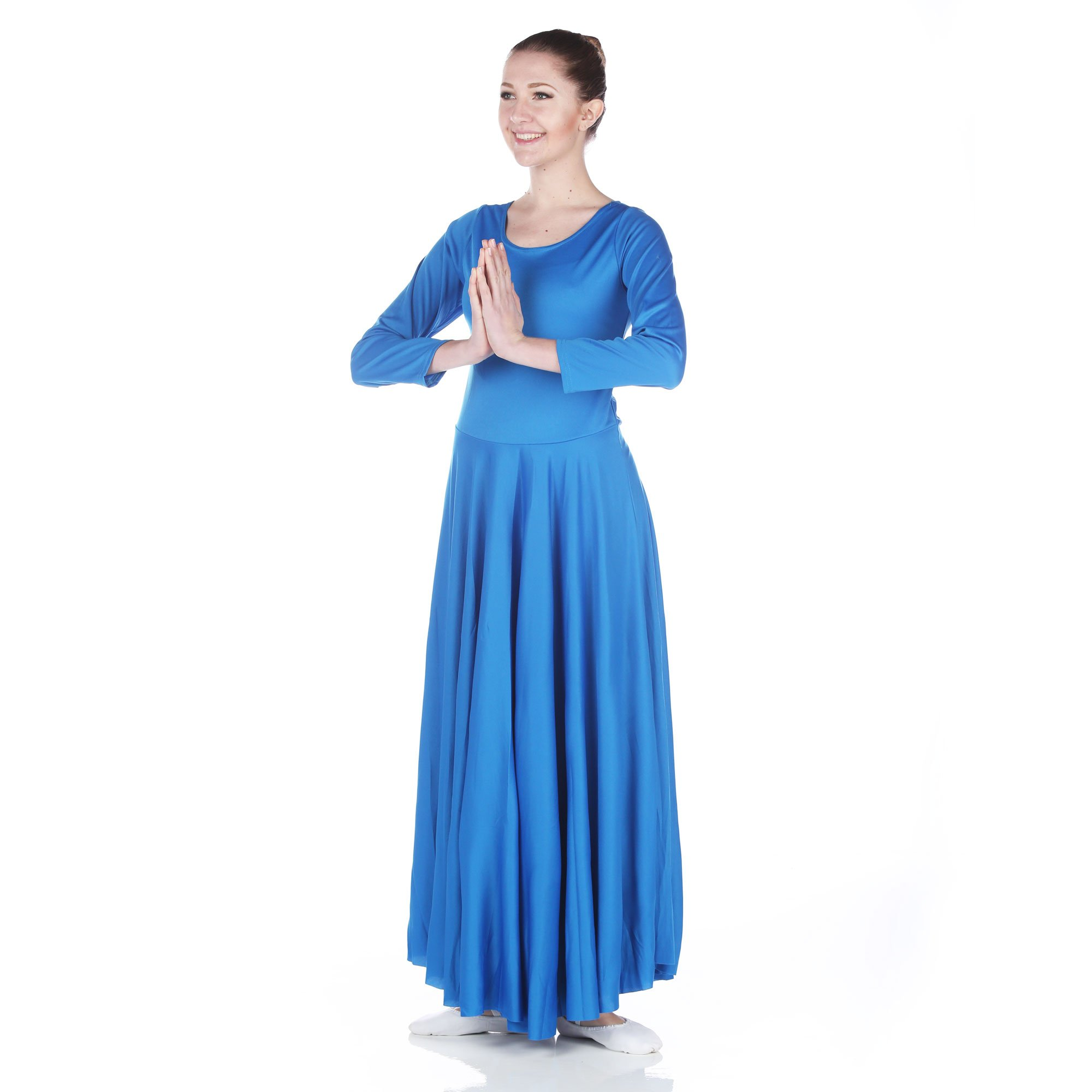 Danzcue Womens Praise Loose Fit Full Length Long Sleeve Dance Dress, Bright Royal, Small by Danzcue