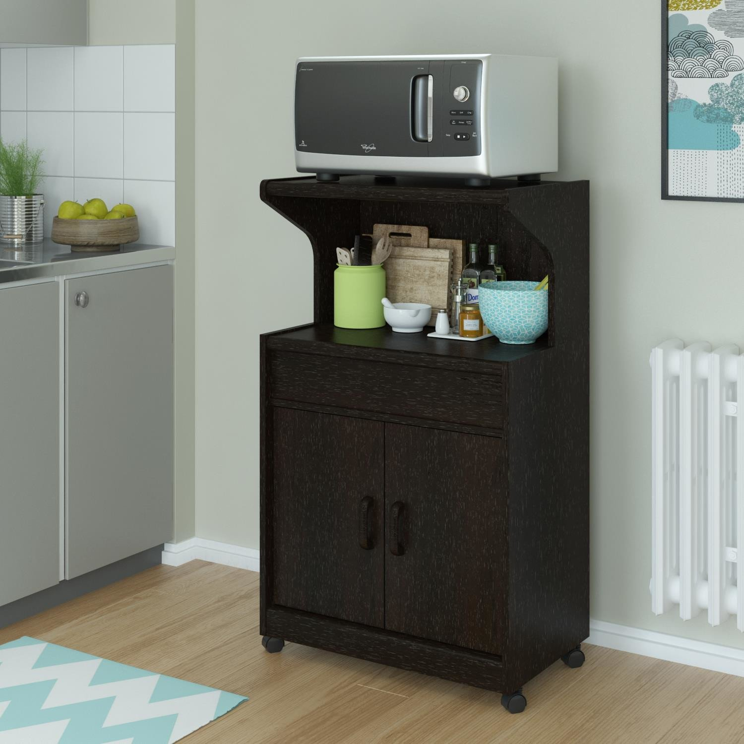 elegant look howland microwave cart with cabinet and