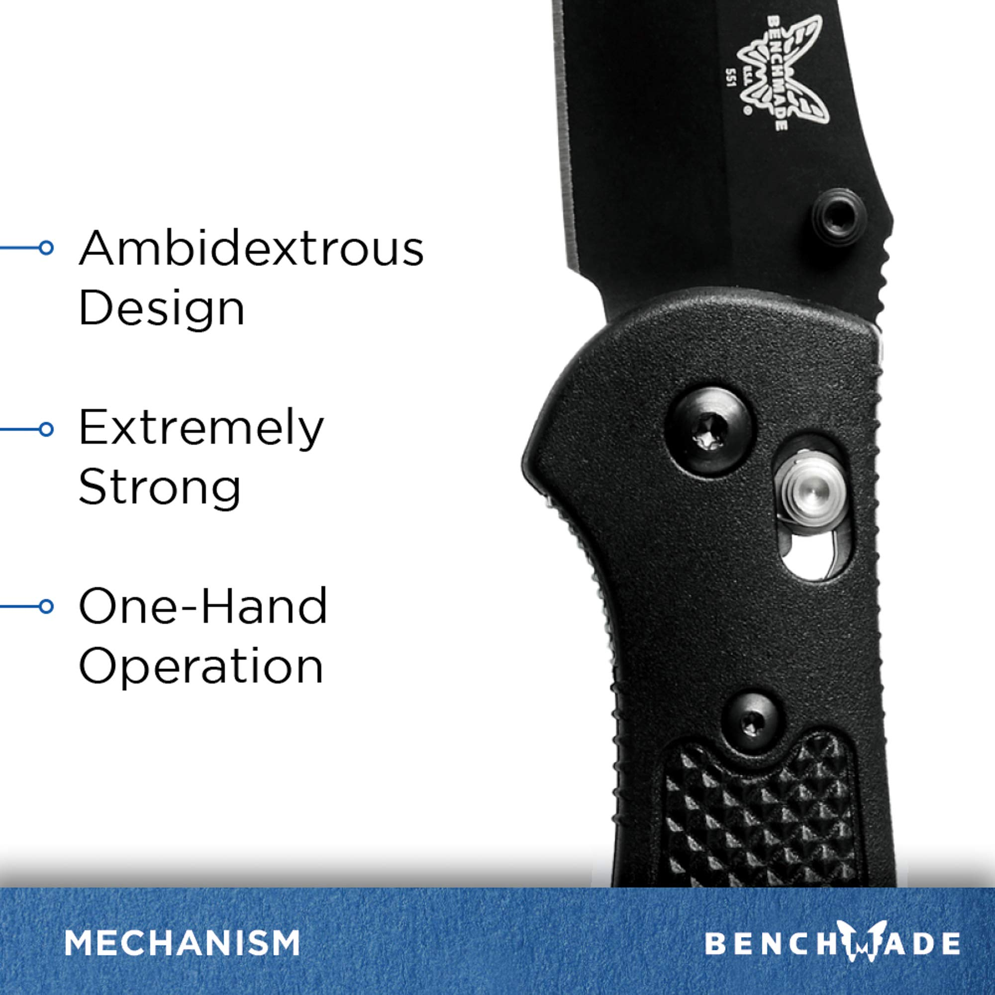 Benchmade - Griptilian 551 Knife with CPM-S30V Steel, Drop-Point Blade, Plain Edge, Coated Finish, Black Handle by Benchmade (Image #5)