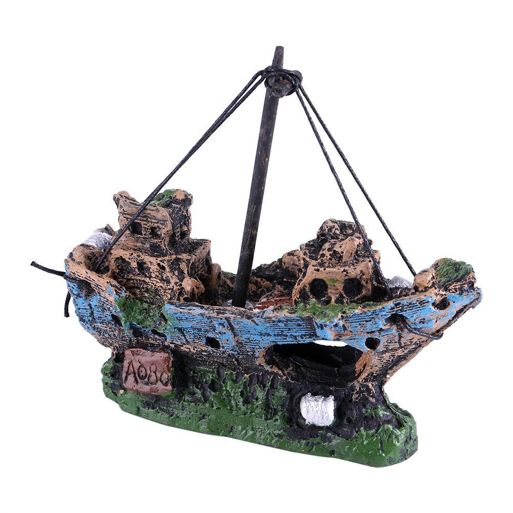 Fdit decorazioni acquario artificiale resina barca acquario acqua acquario paesaggistica nave pirata tema
